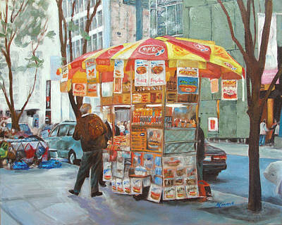 Hot Dog Stand Painting - New York City Red Hots by Ann Caudle