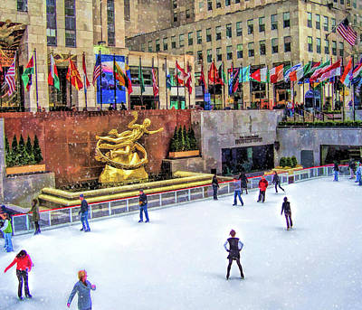 Painting - New York City Rockefeller Center Ice Rink by Christopher Arndt