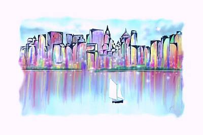 Digital Art - New York City Scape by Darren Cannell