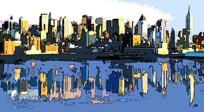 New York Skyline Digital Art - New York City Skyline Abstract by Linda Mears