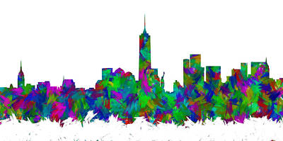 Abstract Skyline Digital Art Rights Managed Images - New York City Skyline Abstract Silhouette I Royalty-Free Image by Ricky Barnard