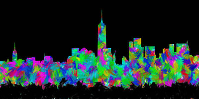 Abstract Skyline Digital Art Rights Managed Images - New York City Skyline Abstract Silhouette II Royalty-Free Image by Ricky Barnard
