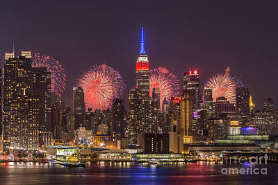 Photograph - New York City Skyline And Fireworks I by Clarence Holmes