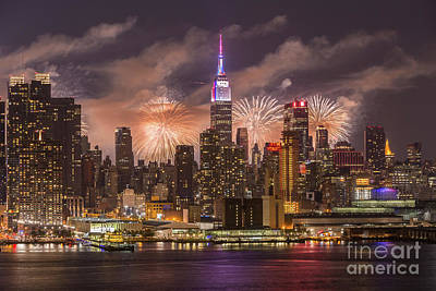Photograph - New York City Skyline And Fireworks Iv by Clarence Holmes