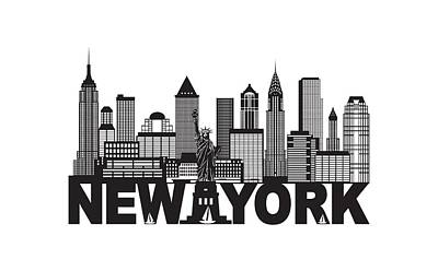 Photograph - New York City Skyline And Text Black And White Illustration by Jit Lim