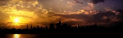New York City Skyline At Sunset Panorama Art Print by Vivienne Gucwa