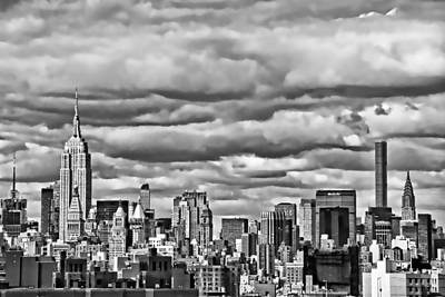 Photograph - New York City Skyline B And W by Allen Beatty