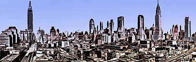 Painting - New York City Skyline Blue Graphic by Edward Fielding