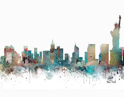 Painting - New York City Skyline by Bleu Bri
