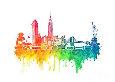 Animal Watercolors Juan Bosco - New York city skyline color by Justyna Jaszke JBJart
