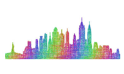 New York City Skyline Drawing - New York City Skyline by David Zydd