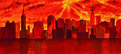 Queen City Skyline Painting - New York City Skyline Golden Sunrise by Ken Figurski