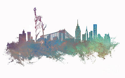 Watercolor Digital Art - New York City Skyline Green by Justyna JBJart
