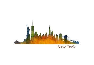 New York City Skyline Hq V01 Art Print by HQ Photo