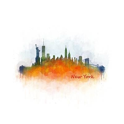New York City Skyline Hq V03 Art Print by HQ Photo