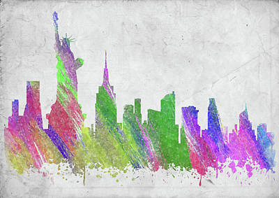 Abstract Skyline Rights Managed Images - New York City Skyline II Royalty-Free Image by Ricky Barnard