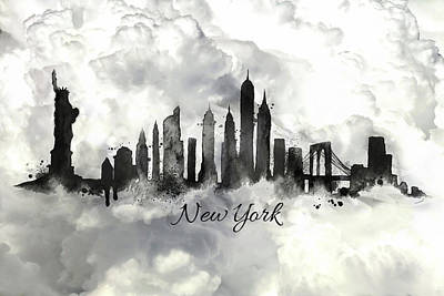Painting - New York City Skyline In The Black And White by Lilia D