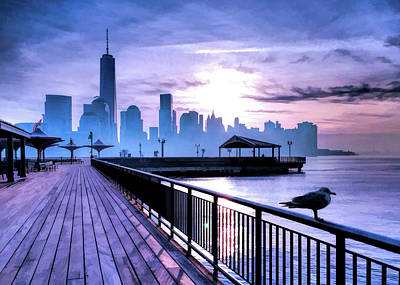 Painting - New York City Skyline Jersey City View by Christopher Arndt