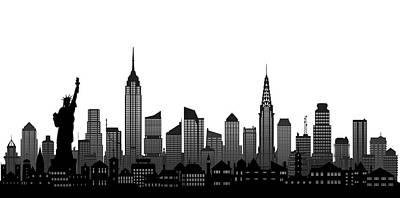 City Drawing - New York City Skyline by Leon Bonaventura