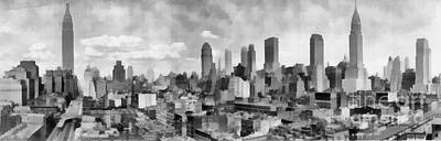 Painting - New York City Skyline Monochromatic by Edward Fielding