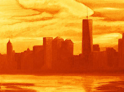 Queen City Skyline Painting - New York City Skyline Orange by Ken Figurski