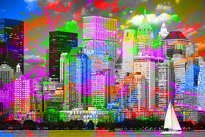 Times Square Mixed Media - New York City Skyline Paint Splatters Pop Art by Design Turnpike
