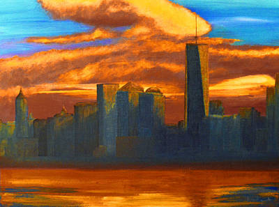 New York City Skyline Painting Original by Ken Figurski