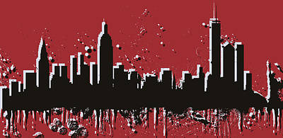Skylines Royalty-Free and Rights-Managed Images - New York City Skyline Pop Art by Dan Sproul