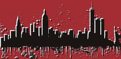 Skylines Mixed Media - New York City Skyline Pop Art by Dan Sproul