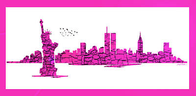 Digital Art - New York City Skyline - Purple by Sir Josef - Social Critic - ART