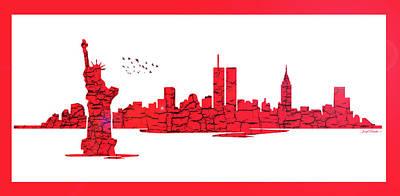 Digital Art - New York City Skyline - Red by Sir Josef - Social Critic - ART