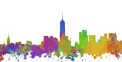 Abstract Skyline Digital Art Rights Managed Images - New York City Skyline Silhouette V Royalty-Free Image by Ricky Barnard
