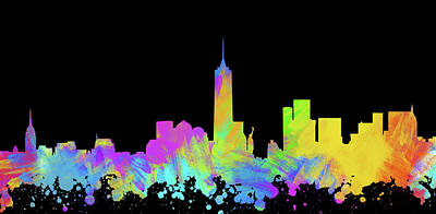 Abstract Skyline Digital Art Rights Managed Images - New York City Skyline Silhouette VI Royalty-Free Image by Ricky Barnard
