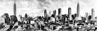 Times Square Drawing - New York City Skyline Sketch by Edward Fielding