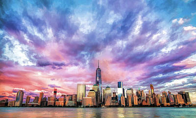 Painting - New York City Skyline Sunset by Christopher Arndt