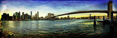 Photograph - New York City Skyline Sunset With Brooklyn Bridge by Joann Vitali