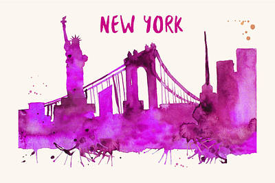 Painting - New York City Skyline Watercolor Poster by Beautify My Walls