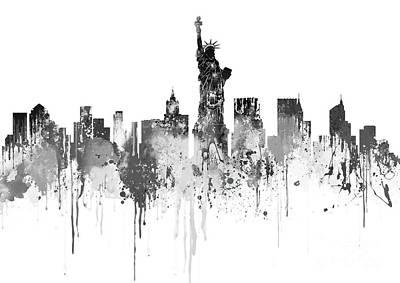 New York City Skyline - Watercolour Black  Art Print by Prar Kulasekara