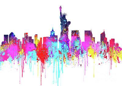 Skylines Digital Art - New York City Skyline - Watercolour - Colorful  by Prar Kulasekara