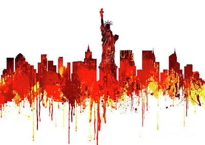 New York City Skyline - Watercolour Red Art Print by Prar Kulasekara