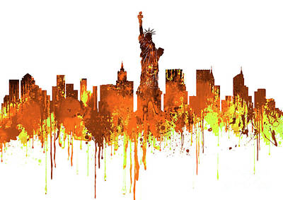 New York City Skyline - Watercolour Yellow  Art Print