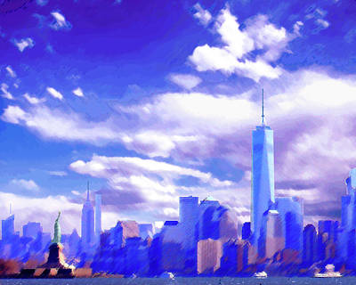 Digital Art - New York City Skyline With Freedom Tower by Steve Karol