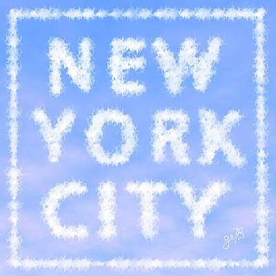 New York City Skywriting Typography Art Print by Georgeta Blanaru