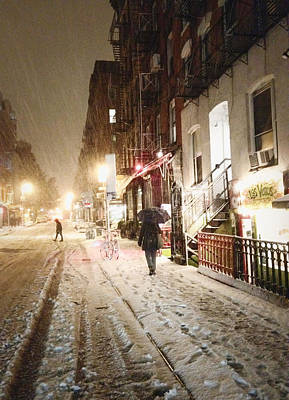 Lower East Side Photograph - New York City - Snow - Night by Vivienne Gucwa