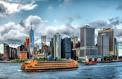 New York City Skyline Painting - New York City Staten Island Ferry by Christopher Arndt