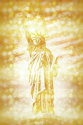 Star Spangled Banner Digital Art - New York City Statue Of Liberty With American Banner - Golden Painting by Melanie Viola