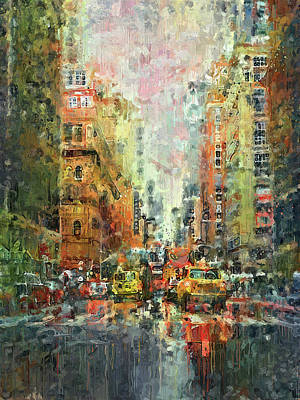 Digital Art - New York City Street Drips by Yury Malkov