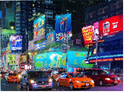 Digital Art - New York City Street Night Light 3 by Yury Malkov