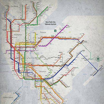 Painting - New York City Subway Map by Christopher Arndt