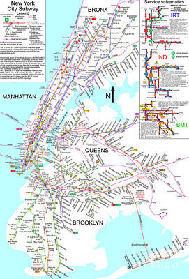 Whimsical Flowers Royalty Free Images - New York City Subway Map Royalty-Free Image by Pg Reproductions